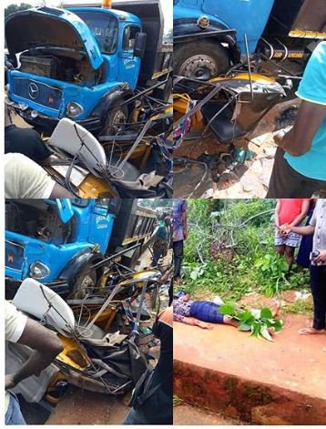 SO SAD!! OkoPoly Final Year Student Killed, As Tipper Crushes Tricycle (Photos) 2