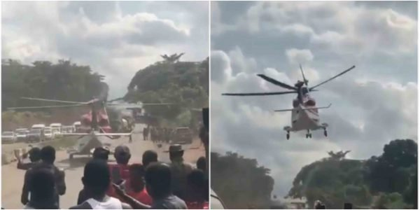 TOO MUCH MONEY!! Helicopter Lands On Lagos-Benin Expressway To Pick A VIP Stucked In Traffic (See Photo) 1