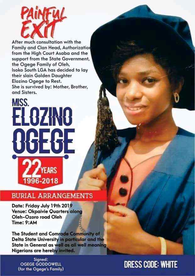 Yahoo Plus: See Obituary & Burial Photos Of The Murdered 300L DELSU Student 4