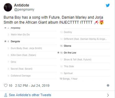 Burna Boy Features Bob Marley's Son And Others In New Album, Fans Reacts 3