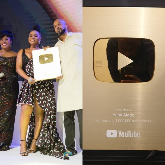 Youtube Presents Yemi Alade With Gold Creator Award For Surpassing 1M Subscribers (Photo) 1