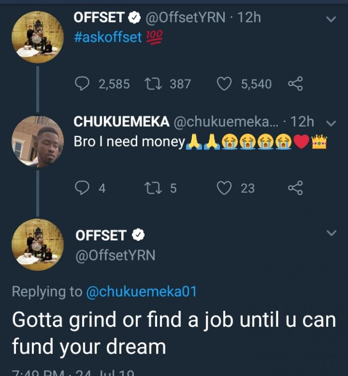 See The Reply American Rapper, Offset, Gave A Nigerian Begging Him For Money 3