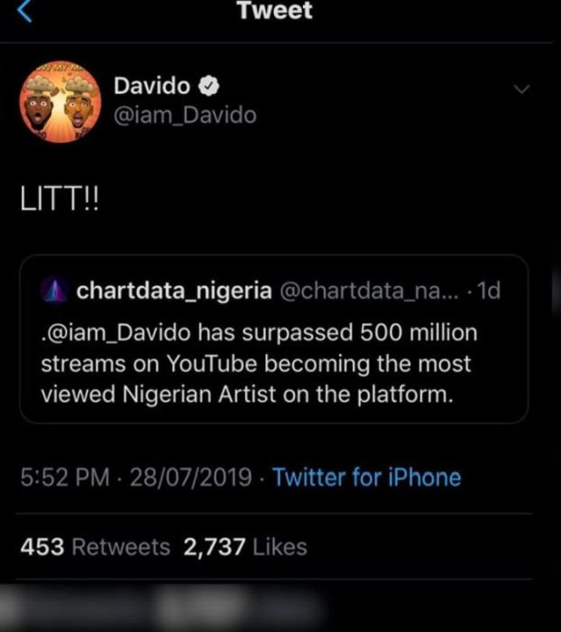BADDEST!!! Davido Becomes Most Viewed Nigerian Artiste On YouTube, Hits Over 500 Million Views 3