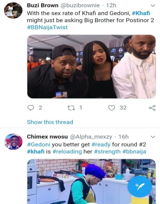 BBNAIJA:-Nigerians Reacts On Twitter As 'Khafi The Sex Addict' Trends On Twitter (See Reactions) 4