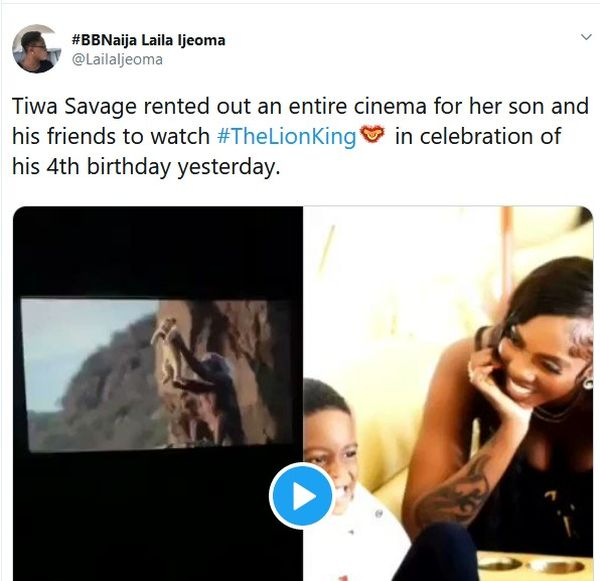 TOO MUCH MONEY!! Tiwa Savage Rents Entire Cinema For Son To Watch The Lion King 3
