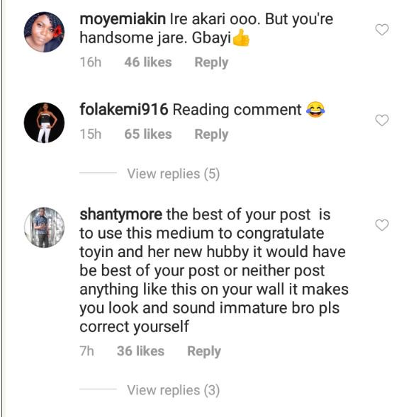 Fans Blast Toyin Abraham's Ex-Husband After Her Engagement With New Husband 5