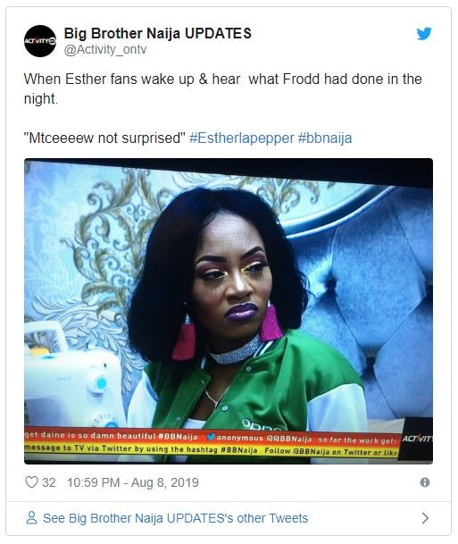 BBNAIJA:- Nigerians Reacts As Frodd Dumped Venita To Spend The Night On Esther's Bed (Photo) 7
