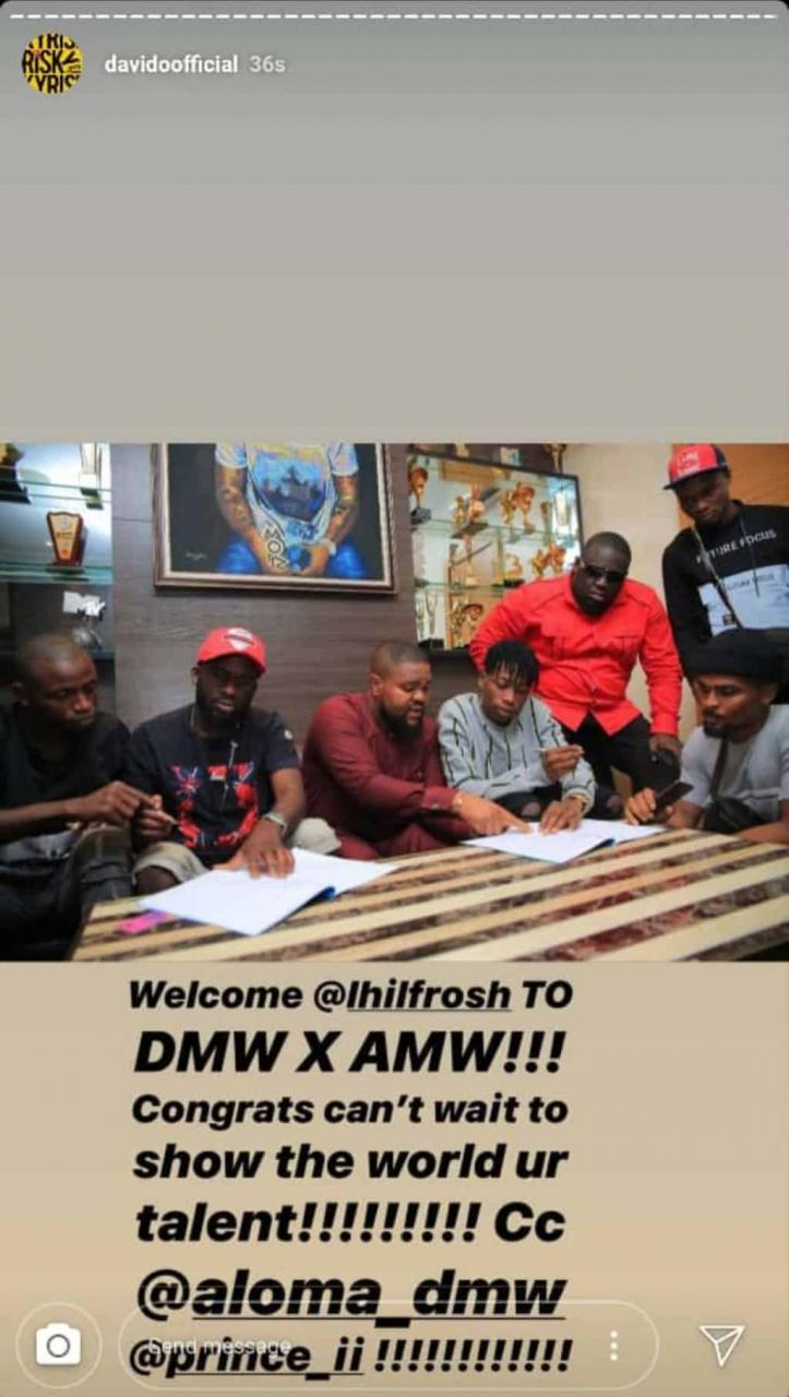 Davido signs Lil Frosh to DMW/AMW Record Label 3