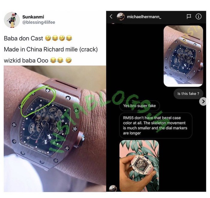 BURSTED!!! The Richard Mille Wrist Watch Wizkid Gave To His Manager, Sunday Are Was Fake (See How) 3