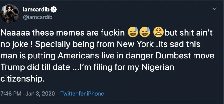 American Rapper, Cardi B Is Considering Being A Nigerian Citizen (Photo) 2