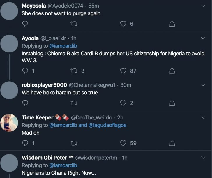 American Rapper, Cardi B Is Considering Being A Nigerian Citizen (Photo) 5