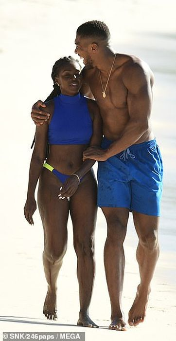 Shirtless Anthony Joshua Pictured With A Female Companion At The Beach In Barbados (Photos) 1