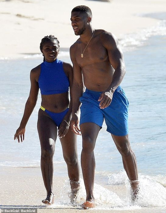 Shirtless Anthony Joshua Pictured With A Female Companion At The Beach In Barbados (Photos) 2