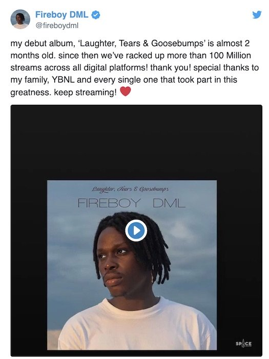 """WOW!!! Fireboy's Debut Album """"Laughter, Tears & Goosebumps"""" Now Has Over 100 Million Streams Within  46 Days (Photos) 2"""