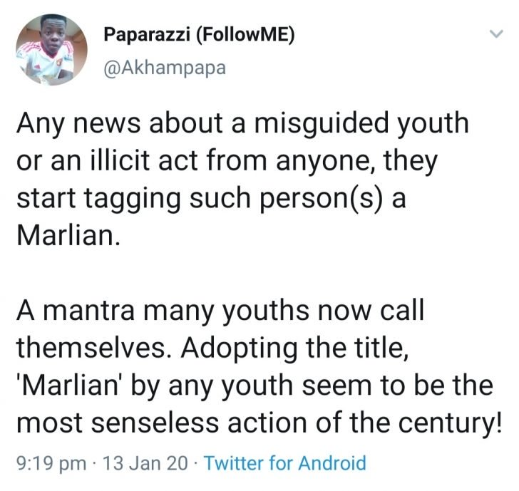 """Do You Agree? Nigerian Youths Calling Themselves """"Marlians"""" Are Senseless (Read This) 2"""