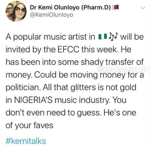 Investigative Journalist, Kemi Olunloyo Reveals A Popular Artiste Would Be Arrested By The EFCC This Week (See What She Said) 2