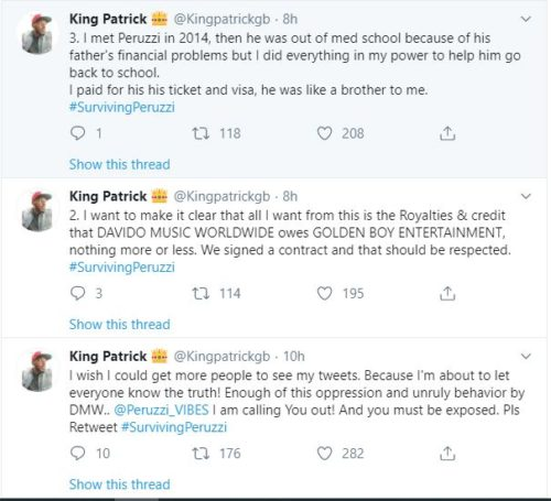 """""""Davido & Peruzzi Are After My Life After Betraying Me""""- Golden Boy CEO; Patrick Cries Out 2"""