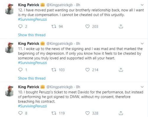 """""""Davido & Peruzzi Are After My Life After Betraying Me""""- Golden Boy CEO; Patrick Cries Out 5"""