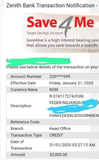 GOOD NEWS!! FG Finally Pays The N33,000 Corpers' Allowance (Screenshot) 2