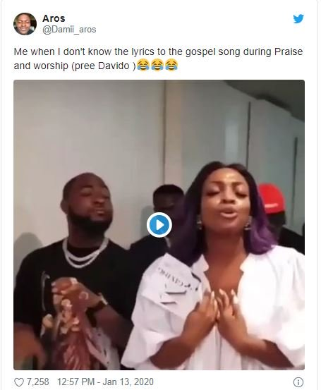 Fans Reacts On Twitter As Davido's Sister Drags Him To Church 2