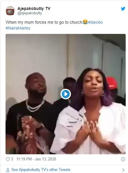 Fans Reacts On Twitter As Davido's Sister Drags Him To Church 3