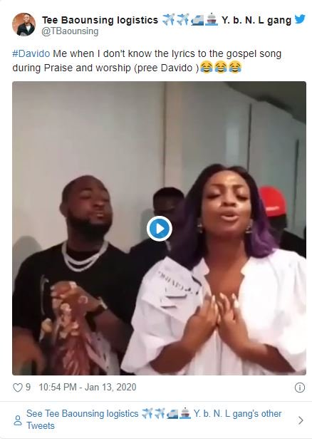 Fans Reacts On Twitter As Davido's Sister Drags Him To Church 5