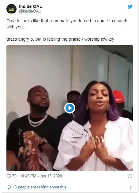 Fans Reacts On Twitter As Davido's Sister Drags Him To Church 6