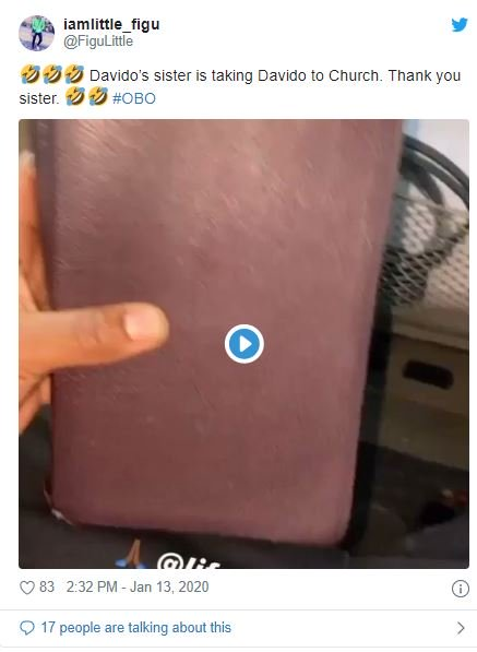 Fans Reacts On Twitter As Davido's Sister Drags Him To Church 7