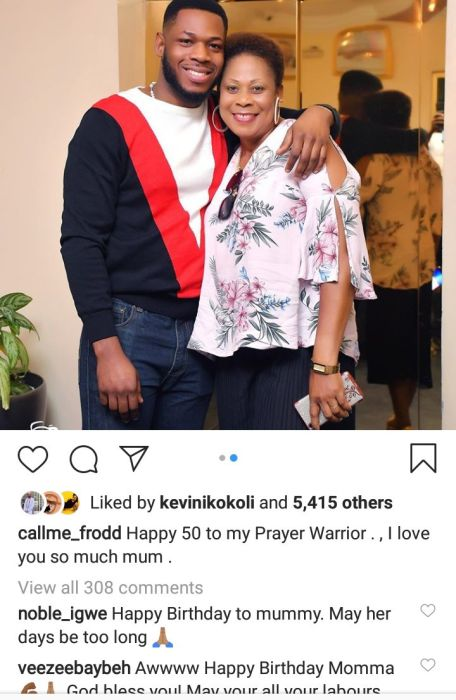 SO LOVELY!!! Frodd Shows Off His Mum And Showers Her With Love On Her 50th Birthday 2