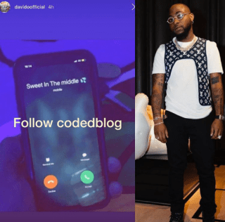 """Davido reveals he saved Chioma's name as """"Sweet in the middle"""" on his phone (Photo) 4"""