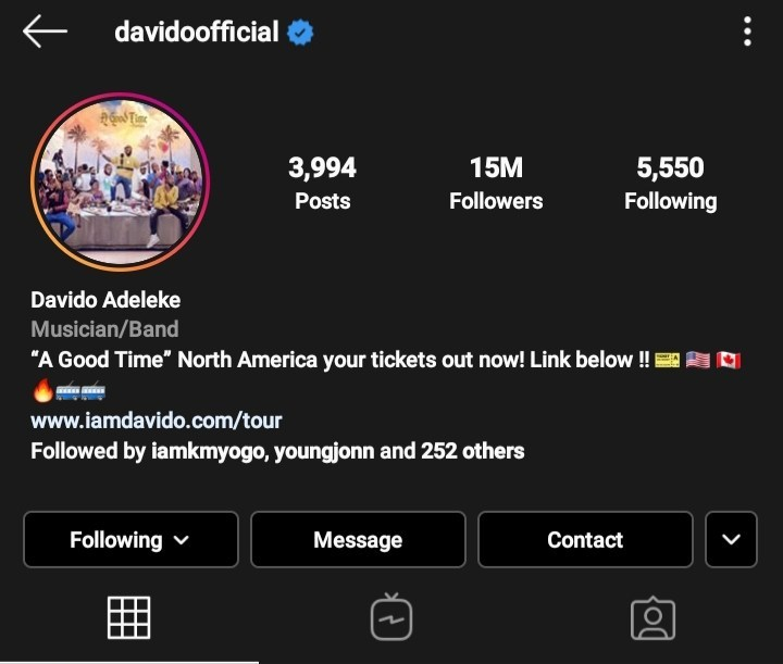 Davido Breaks Record, Becomes First African Artiste To Hit 15 Million Followers On Instagram 2
