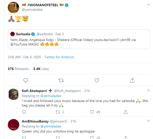 Finally After 3 Years, Sarkodie Publicly Apologizes To Yemi Alade (Photo) 3
