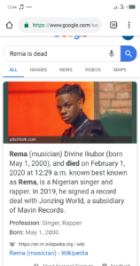 Is Rema Dead?  Wikipedia Reports that Fast Rising Star, Rema is Now Dead (Photo+Video) 2
