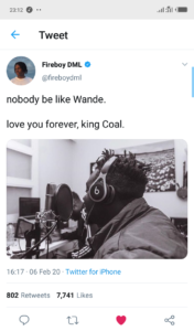 "'Fireboy's ""Jealous"" Is Bigger Than Wande Coal's Whole Career' – Twitter User Says, See What Fireboy Said 3"