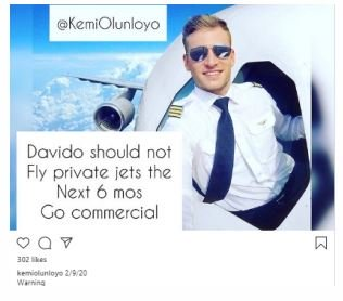 Kemi Olunloyo Warns Davido Not To Fly Private Jet For Six Months 2