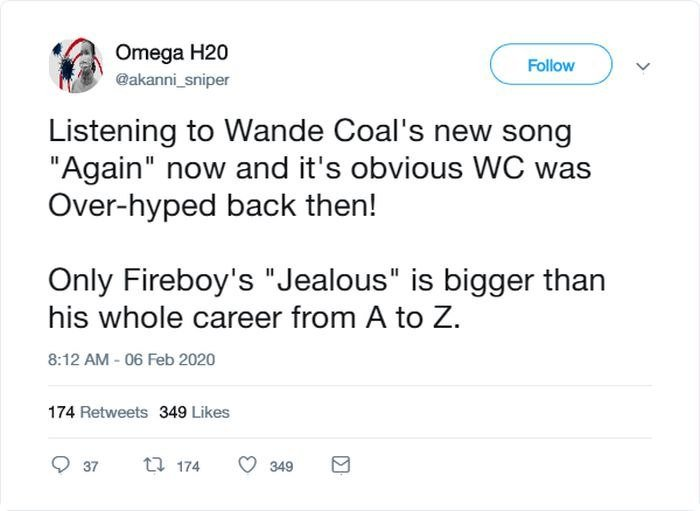 "'Fireboy's ""Jealous"" Is Bigger Than Wande Coal's Whole Career' – Twitter User Says, See What Fireboy Said 2"