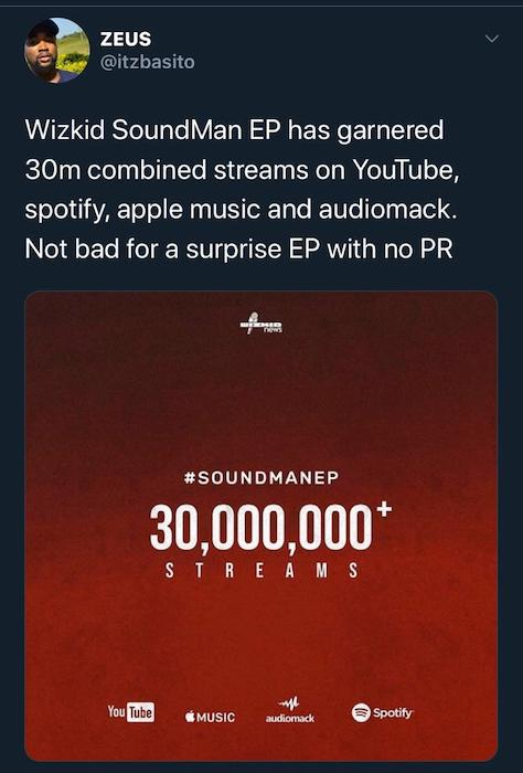 """STARBOY!!! Wizkid Surprised EP """"Soundman"""" Has Reached 30 Million Streams Across All Digital Stores 2"""