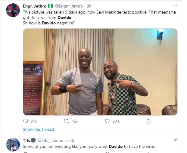 """Davido should redo the coronavirus test again"" – Nigerians react after Governor Makinde tested positive for the virus 5"