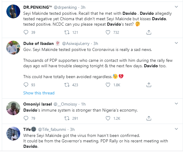"""Davido should redo the coronavirus test again"" – Nigerians react after Governor Makinde tested positive for the virus 6"