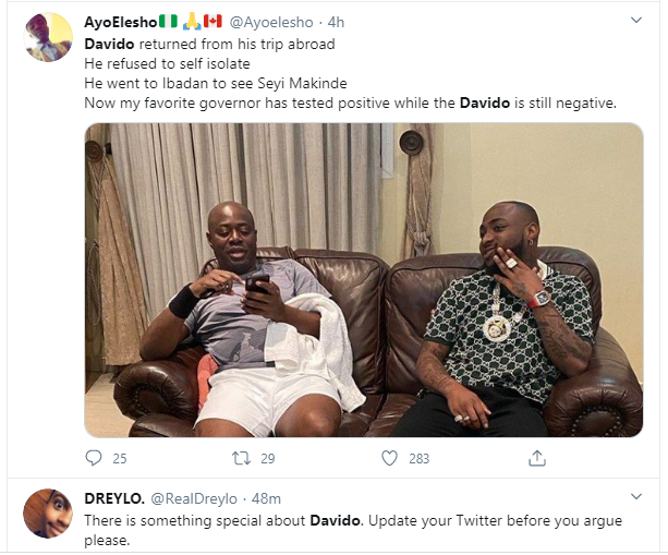 """Davido should redo the coronavirus test again"" – Nigerians react after Governor Makinde tested positive for the virus 9"