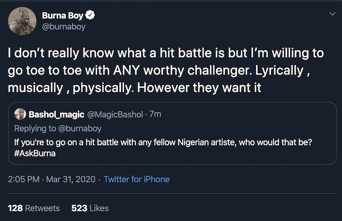 You Are Too Small To Challenge Me!! Burna Boy Ridiculed Reekado Banks On Twitter For Saying This 2