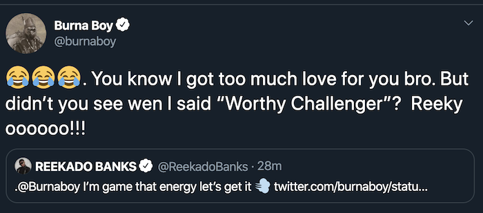 You Are Too Small To Challenge Me!! Burna Boy Ridiculed Reekado Banks On Twitter For Saying This 4