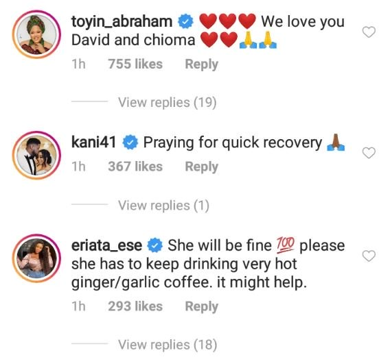 See How Toyin Abraham, Others Are Reacting To Davido's Wife, Chioma, Contracting Coronavirus 6