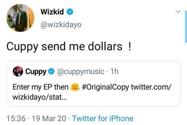 """Send me dollars if you need me in your EP"" – Wizkid tells DJ Cuppy"