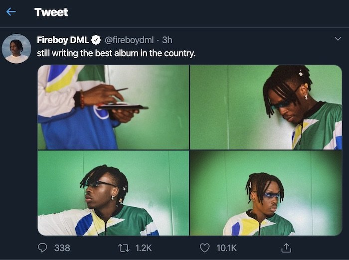 """""""I'm Still Writing the Best Album in the Country"""" – Fireboy DML Proudly Says 2"""