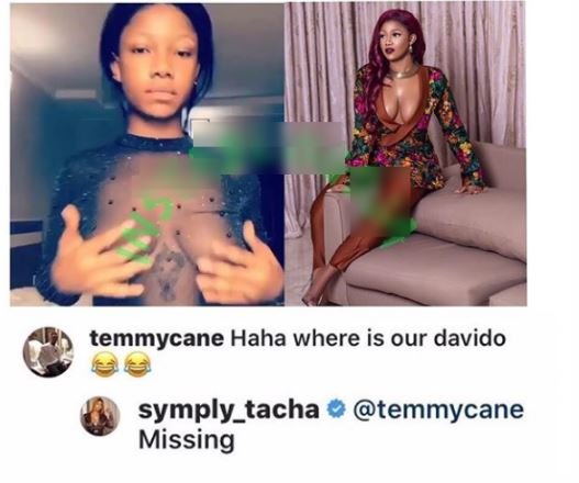 Tacha Leaves Nigerians Confused As Davido's Tattoo Goes Missing In-Between Her B**bs 2