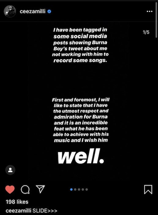 """Ceeza Mili Finally Replies Burna Boy, Still Claims He Wrote """"On The Low"""" Back For Him"""