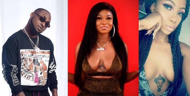 Tacha Leaves Nigerians Confused As Davido's Tattoo Goes Missing In-Between Her B**bs