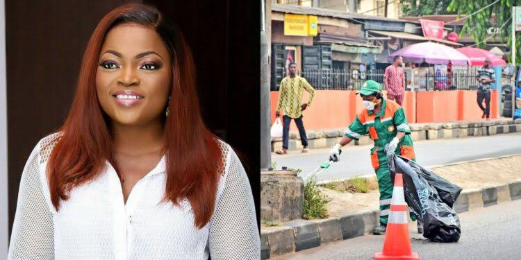 SHOCKING!! New Details Emerge On Viral Photo Of Funke Akindele Cleaning The Streets As Punishment
