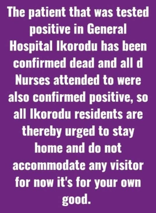 BREAKING NEWS!! All The Nurses In Ikorodu General Hospital Tests Positive To COVID-19 Few Days After A Patient Died 3